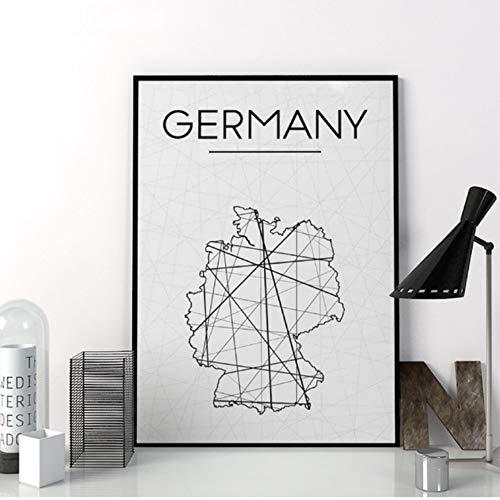 zxkx Deutschland Karte Drucke Wandkunst Poster Abstrakte Deutschland Karte Poster Minimalistischen Leinwand Malerei Für Wohnzimmer Dekoration 40x50 cm