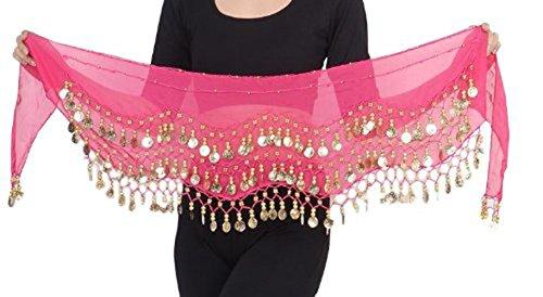 Kostüm Bauchtanz Türkische - Belly Dance Bauchtanz Hüfttuch Kostüm 128 goldfarbenen Münzen Münzgürtel Gürtel in pink NEU