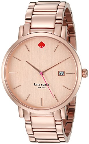 Kate Spade Women's Gold Tone Steel Bracelet & Bracelet Quartz Rose Gold-Tone Dial Analog Watch 1YRU0641