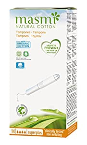 14 Masmi Super Plus Applicator Tampons Organic Cotton Certified, Hypoallergenic, 100% Biodegradable, Perfume, Viscose, Rayon, Chlorine and Dioxin Free