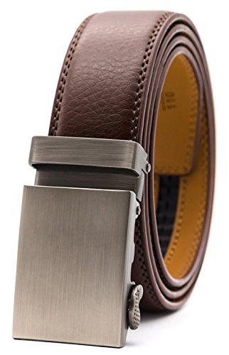 GFG Herren Gürtel,Leder Automatik Gürtel Für Herren Jeans Anzug Gürtel-3,5cm Breite-003-110-Braun