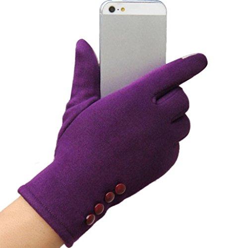 Longra Frauen Touch Screen Winter Outdoor Sport warme Handschuhe (Lila)