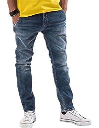 Meltin'Pot - Jeans MAK D0120-UK285 para hombre, estilo slim, ajuste suelto, talle baja