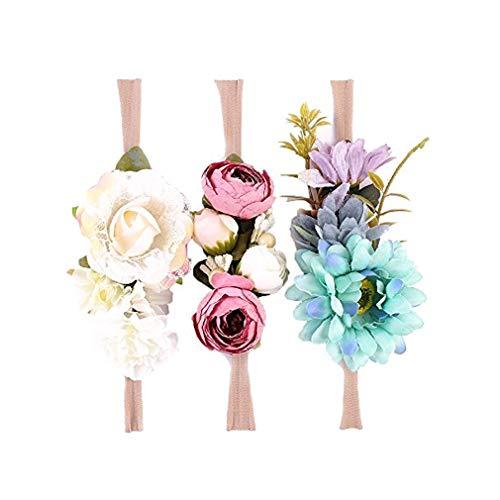 Ever Fairy Raffhalter Blumen Krone ELASTISCH Blumen Stirnband Baby Mädchen Blumenmuster Krone Kranz Neugeborenes Haarzubehör Party Versorgungen - 3 Farben Packung - B, One Size (Babys Kleider Für Fairy)
