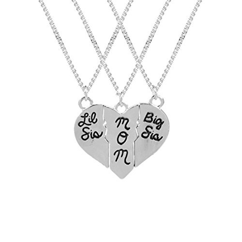 Big Sis, Mama, Lil Sis 3Stück Set Halskette, Drei Split Herz Halskette Set, Muttertag, Mutter Tochter - Stück 3 Mutter-töchter-halskette,