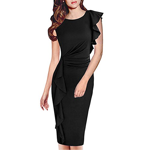 Paskyee Damen Übergröße Celebrity Elegant mit Rüschen Besetzt Tragen Party Abendkleid Business Kleid