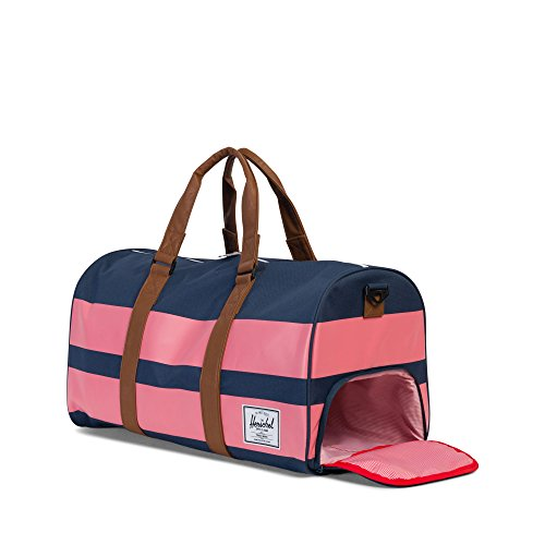 Herschel Novel Duffle Gürteltasche, Woodland Camo Navy/Strawberry Ice Rugby Stripe/Tan Synthetic Leather