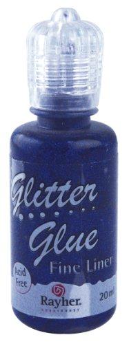 Rayher 33840383 Glitter-Glue metallic, Flasche 20 ml, saphirblau