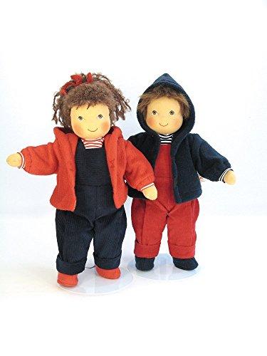 Martina mit Fleecejacke Puppe Haare braun, Kleidung rot/blau von Heidi Hilscher handbemalt