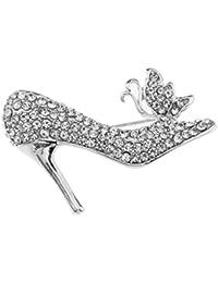 Nikgic 1pc Broche de Diamantes de Imitación Broche de Zapatos de Tacón Alto Bowknot (Plateado) 7tb572ANNo