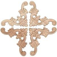 4pcs 7*7*0.8cm Onlay Applique Flor de la madera decorativa Esquina