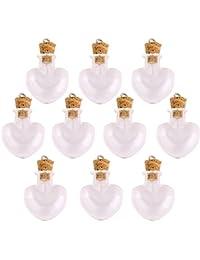 10pcs Tarros Botella Corcho Cristal Viales Deseen Botellas Colgante Bricolaje -heart Forma