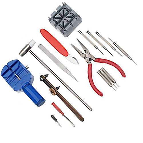 Preisvergleich Produktbild ELENXS 16pcs Uhr Werkzeug Set Uhr Remover Adjuster umkleiden Öffner Reparatur Tool Kit Uhrmacher Schraubenzieher Werkzeug