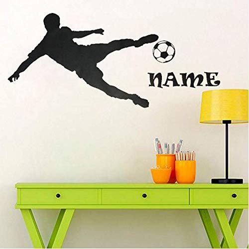 Zybnb Personalisierte name fußballspieler silhouette spielen wandaufkleber junge schlafzimmer wohnkultur diy benutzerdefinierte 42 * 95 cm