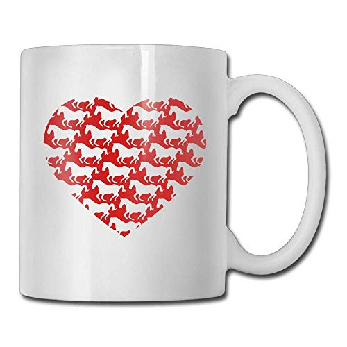 Nisdsgd Galloping Horse with Heart Love Coffee Mugs 11 Oz Great Gift Ceramic Tea Cup for Family and Friend 3.14W x 3.74H(8x9.5cm) 16 Oz Tall Iced Tea