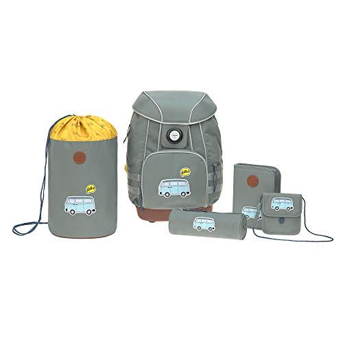 LÄSSIG Schulranzen Set mit Sporttasche, Federmäppchen, Stiftemäppchen, Turnbeutel und Brustbeutel ab 6 Jahre/School Bag Set Adventure Bus
