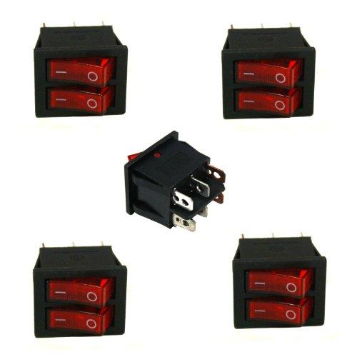 AERZETIX: Juego de 5 interruptores eléctrico 70K CD8-212N-1-15A doble C1077