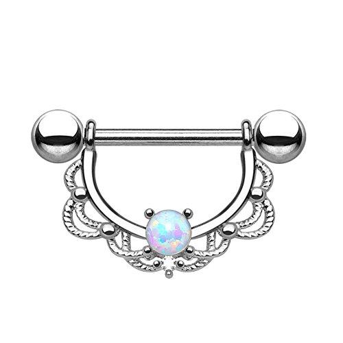 beyoutifulthings FILIGRANER BOGEN Brustwarzen-piercing Intim-piercing Nippel-piercing OPAL EDELSTAHL GOLD SILBER ROSÉGOLD 1,2/1,6mm - Und Gold Opal