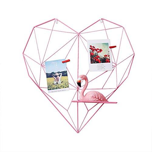 AUTOECHO Wandblende aus Eisendraht in Herzform, Multifunktions-Anhänger und Organizer zur Wandmontage (Rosa/Schwarz) - Rosa