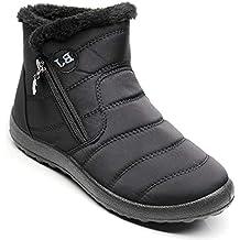 9d7363fbb21ffe Hishoes Winterstiefel Damen Warm Gefüttert Wasserdicht Winterschuhe Boots  Kurzschaft Stiefel Stiefeletten für Damen Winter Flach Schuhe