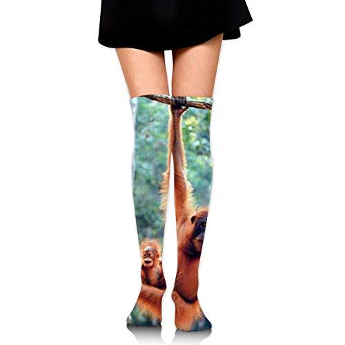 Bgejkos Orangutan and Baby Waving Monkey Compression Socks Foot Long Stockings Knee High Socks for Men Women Supports Sport Running Cycling Football Slim Leg Travel Medical Nursing (Sock Monkey Pants)