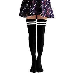 TININNA Medias Calcetines,invierno clásico de la raya del muslo altos calcetines calcetines de alta rodilla sobre la rodilla pega medias para Mujeres Niñas-Negro
