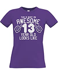 This What AN Awesome 13 Year Old Looks Like Purple Girls 13th Birthday Ladies Fitted T-Shirt in Size Small with A White Glitter Print.
