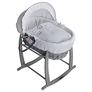 Clair de Lune Wicker Moses Basket, Pink/Grey, Over The Moon   4