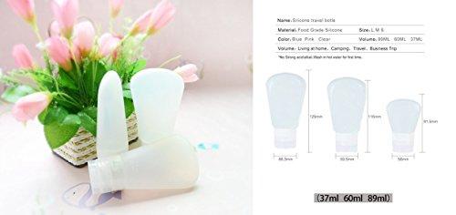 grandey en silicone de haute qualité maquillage rechargeable bouteilles Voyages d'emballage en silicone de presse bouteille pour lotion pour le shampooing gel douche Lotion cosmétiques Tube Squeeze Outil de voyage 37 ml 60 ml 89 ml Bouteilles, blanc (Rose) - mrb03