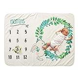 Decdeal Couverture hebdomadaire mensuelle de bébé, 28 * 40in Flanelle Super Soft pour Fille garçon Ailes Florales Cadre de la Licorne Photo Nouveau-né Prop Prop...