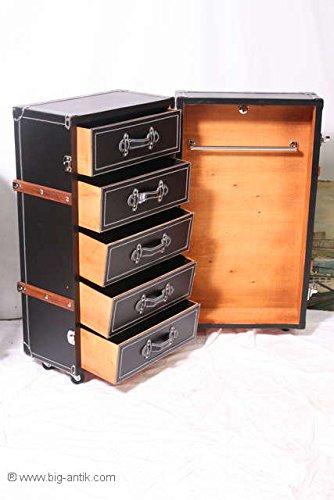 BiG Trade Schrankkoffer/Kommode / Container/Überseekoffer / Holzleisten / 5 Schubladen/Rollen