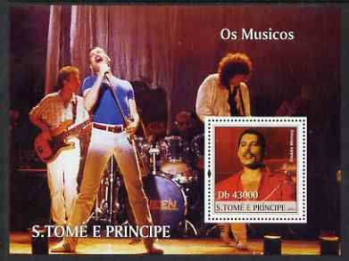 St Thomas & Prince Islands 2004 Freddie Mercury & Queen perf s/sheet 1 value u/m Mi BL 491 PERSONALITIES MUSIC POPS ROCK JandRStamps