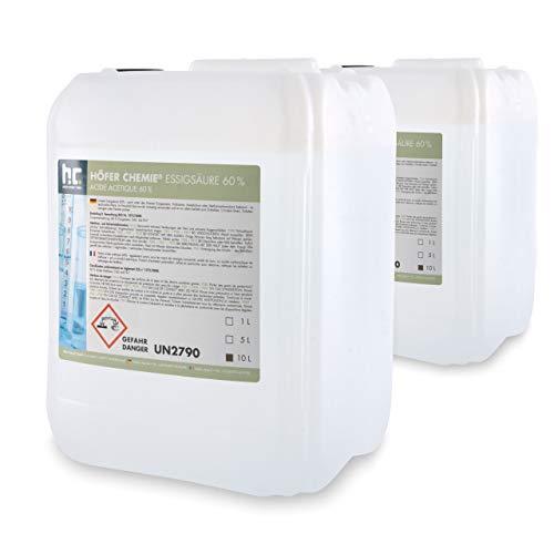 2 x 10 L Essigsäure 60% - VERSANDKOSTENFREI - frisch abgefüllt in handlichen 10 L Kanistern