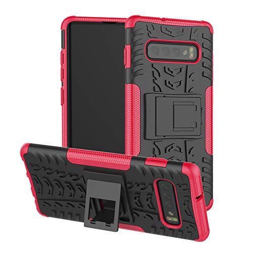 Für Samsung Galaxy S10 Schutzhülle,JShisxnuid Dual Layer Hybrid Hülle Silikon Hard-Case Outdoor Back-Cover Extrem Stoßfest Schutzhülle Grip Handyhülle für Samsung Galaxy S10,Hot Pink Hot Pink Tpu Case