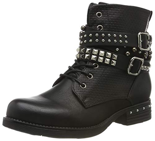 Angkorly - Damen Schuhe Stiefeletten - Biker - Reitstiefel Kavalier - Vintage-Stil - String Tanga - Nieten - besetzt - Geflochten Blockabsatz 3.5 cm - Schwarz F2300 T 39