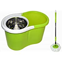 360° Spin Round Mop, Steel Centre with a Bucket, Green, 2018-027-2
