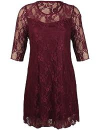 Purple Hanger - Robe Fleurie Dentelle Extensible Manche 3/4 Femme Grande Taille Soirée