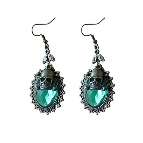 l Ohrringe Drop Kristall Ohrringe Vintage Steampunk Punk Party Eardrop (grün) ()