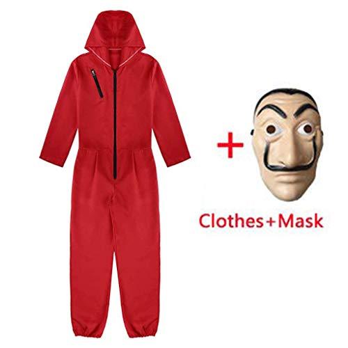 Amycute 2 PCS Traje de Disfraz con Máscara, Mono Rojo Careta Disfraz de Ladrón Salvador Dalí para Cosplay Carnaval Navidad Halloween para Hombre Mujer