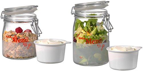 Ritzenhoff-Breker-164350-Botes–Menue-Pack-et-Snack-2-pices-750-et-1000-ml-fermeture–trier-Bocaux-en-verre-rouge-27-x-27-x-15-cm—2-units