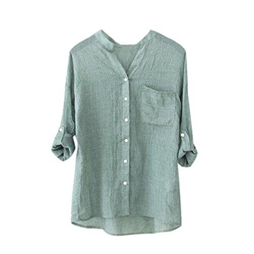 Damen Blusen Ronamick Frauen Baumwolle Tunika Solid Langarm-Shirt Beiläufige Lose Bluse Oberteile Button-Down-Tops Pullover (Grün, XXL)