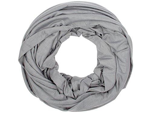 Sciarpa a tubo circolare in viscosa, foulard da donna leggero e morbido estate primavera autunno inverno loop anello ragazze colorati stola accessorio moderno lifestyle, SCH-920a-t:grigio scuro SCH-920d
