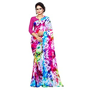 Amyaa Fashion Women's Chiffon Saree with Unstitched Blouse Piece (AF_Holi_S_Multicolor)