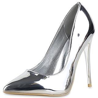 napoli-fashion Spitze Damen Pumps High Heels Lack Stilettos Metallic Party Abschlussball Hochzeit Damen Pumps Silber Metallic 38 Jennika