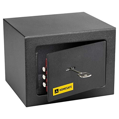 HomeSafe HV15K Caja fuerte con Cerradura de Calidad 15x20x17cm HxWxD, Negro Satén de Carbón