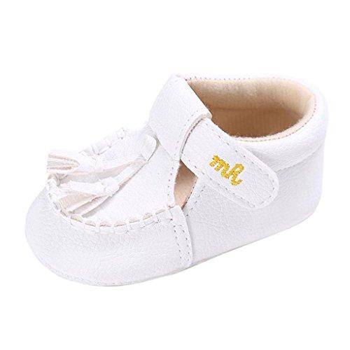 Chaussures Enfant Longra Fille Garçons Semelle souple Lit de bébé Tassel pour tout-petit Chaussures (6~12M, Blanc) Blanc