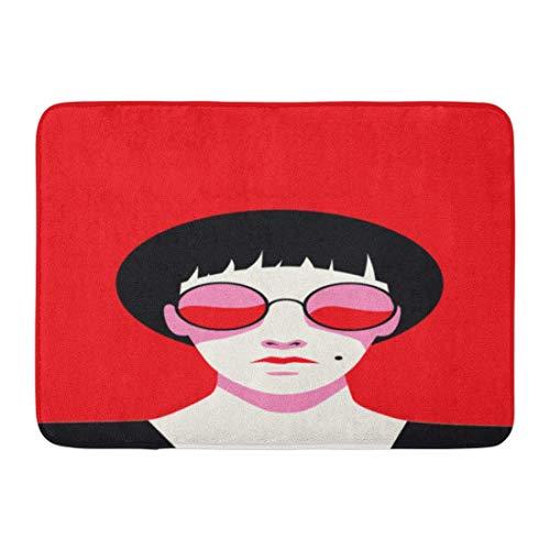 shyly Fußmatten Badteppiche Outdoor/Indoor Fußmatte Gesicht Goth Dekadente Frau in roter Sonnenbrille auf Halloween Brille Anime Badezimmer Dekor Teppich 23,6 (L) x 15,7 (W) Zoll