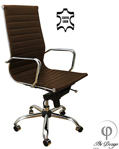 Bürostuhl Braun Echt Leder Schreibtischstuhl Drehstuhl Chefsessel Alpha Elegance Stuhl Sessel