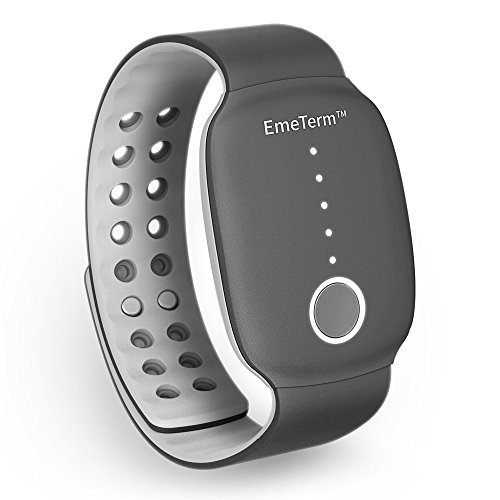 TENS device-EmeTerm Antiemetic Electrode Stimulator Morning Sickness Motion Travel Sickness Nausea Chemotherapy and Vomit Relief Rechargeable Drug Free Black Wrist Bands Parents and Friends Gift No Side Effects
