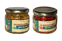 Divine Bite/First Bite Green Chilli Hari Mirch & Red Chilli Lal Mirch 100% Natural Handmade Pickles- 2 Combo Pack- (300gm Each)